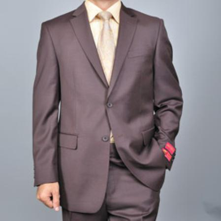 Mens Brown Twobutton Wool Suit