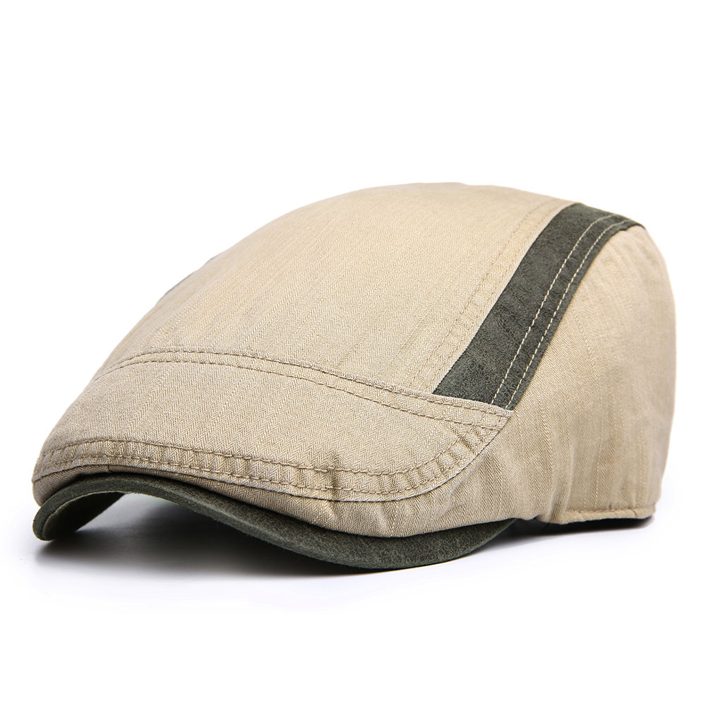 Men Cotton Solid Color Beret Duck Hat Sunshade Casual Outdoors Peaked Forward Cap Adjustable Hat