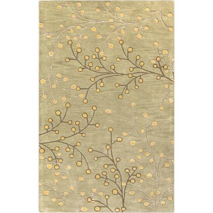 Athena ATH-5113 6' x 9' Rectangle Cottage Rug in Taupe  Olive  Tan