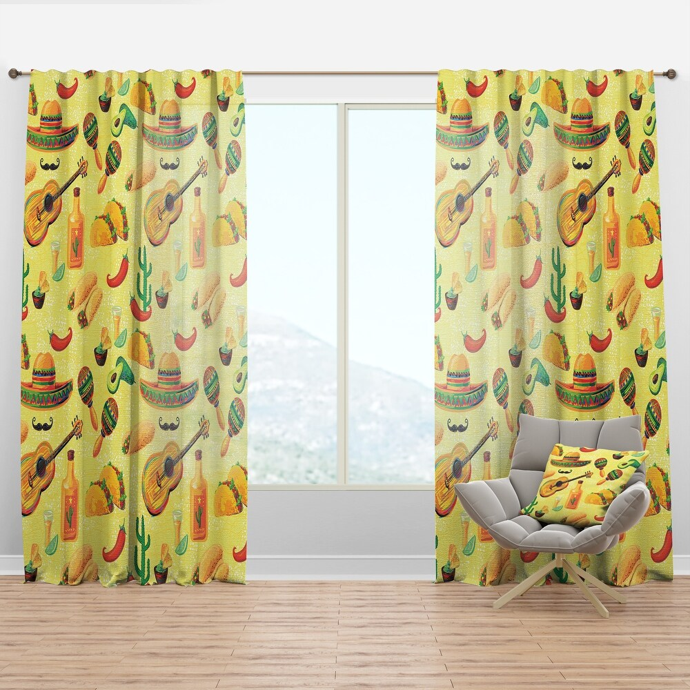 Designart 'Mexican Music Pattern' Tropical Curtain Panel (50 in. wide x 63 in. high - 1 Panel)