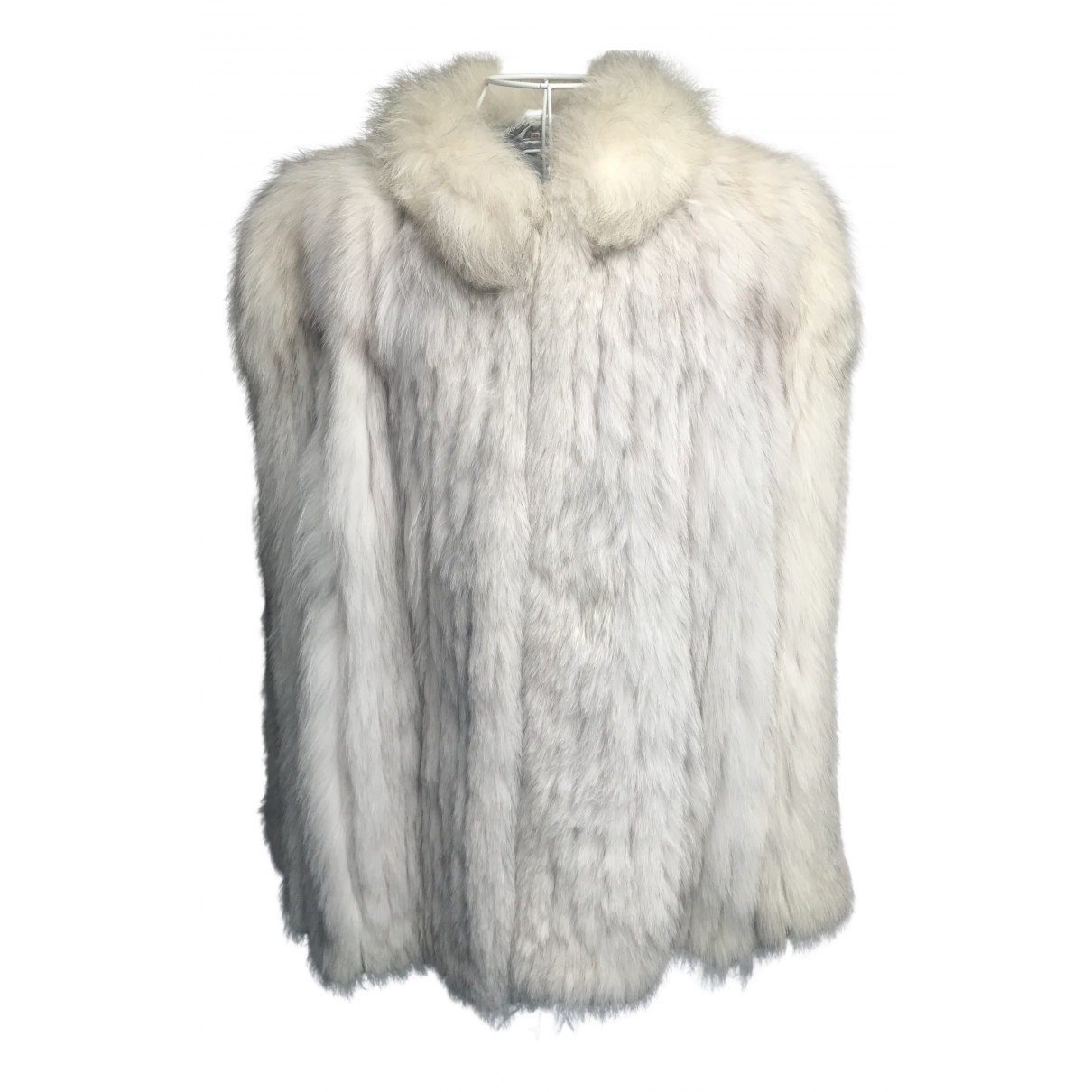Non Signé / Unsigned Oversize Ecru Fox coat for Women 46 FR