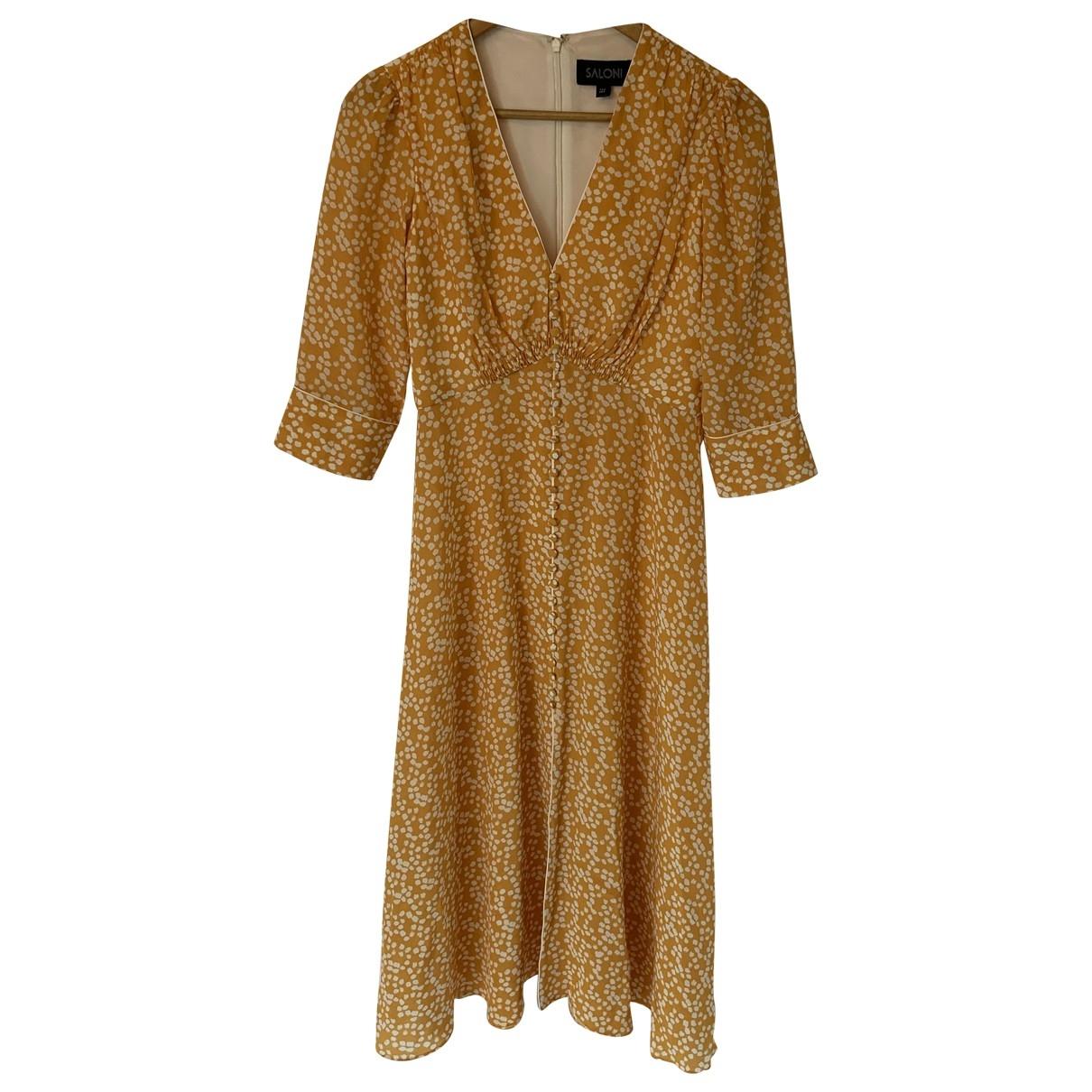 Saloni \N Kleid in  Gelb Seide