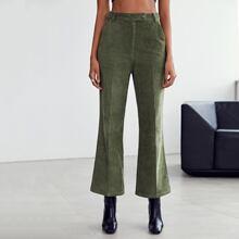 Pantalones de pierna amplia de cintura con boton