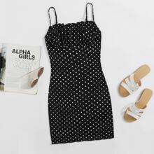 Kleid mit Ruesche und Punkten Muster