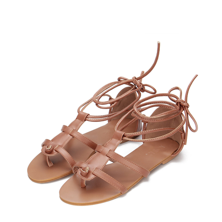 Yoins Brown Leather Look Lace-up Gladiator Flat Sandals