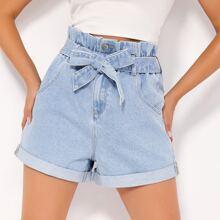 BLUES shorts denim doblados con cinturon de cintura con volante