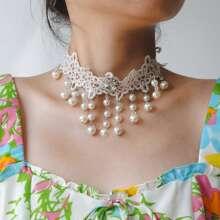 1pc Faux Pearl Tassel Pendant Lace Necklace