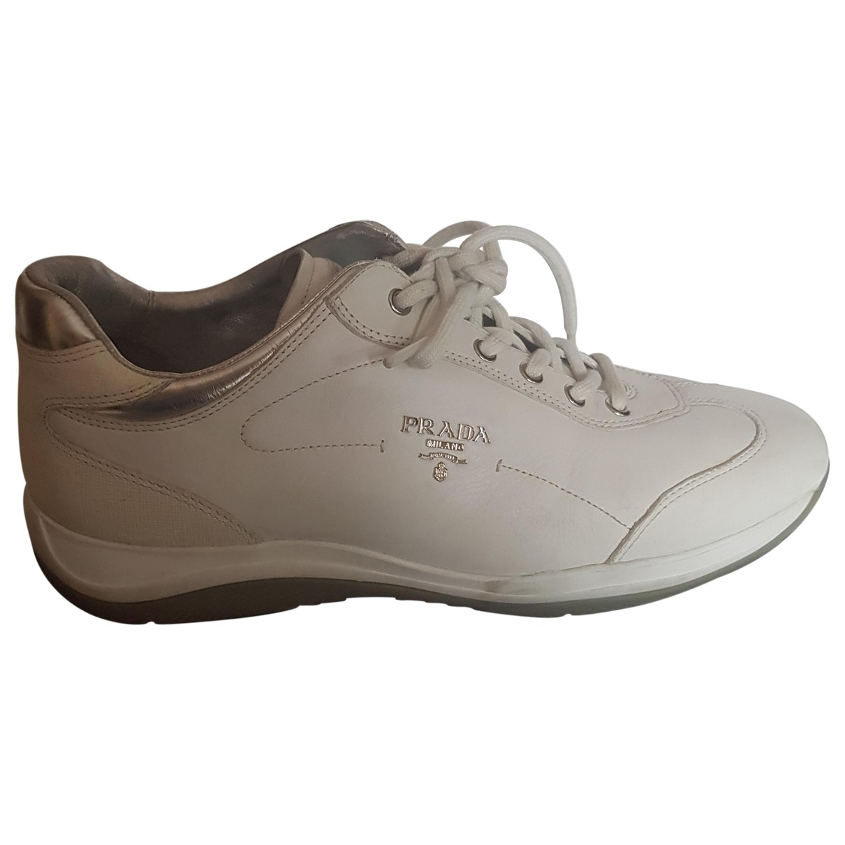 Prada \N White Leather Trainers for Women 40.5 IT