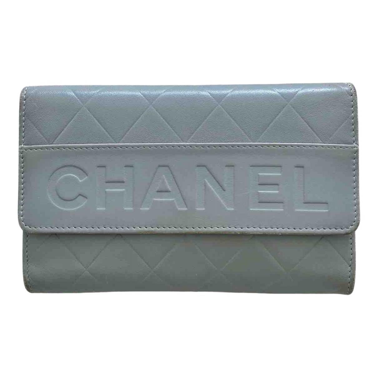 Chanel - Portefeuille   pour femme en cuir - gris