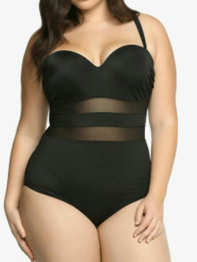 Ericdress Plus Size Patchwork Mesh One Piece Stretchy Swimsuit