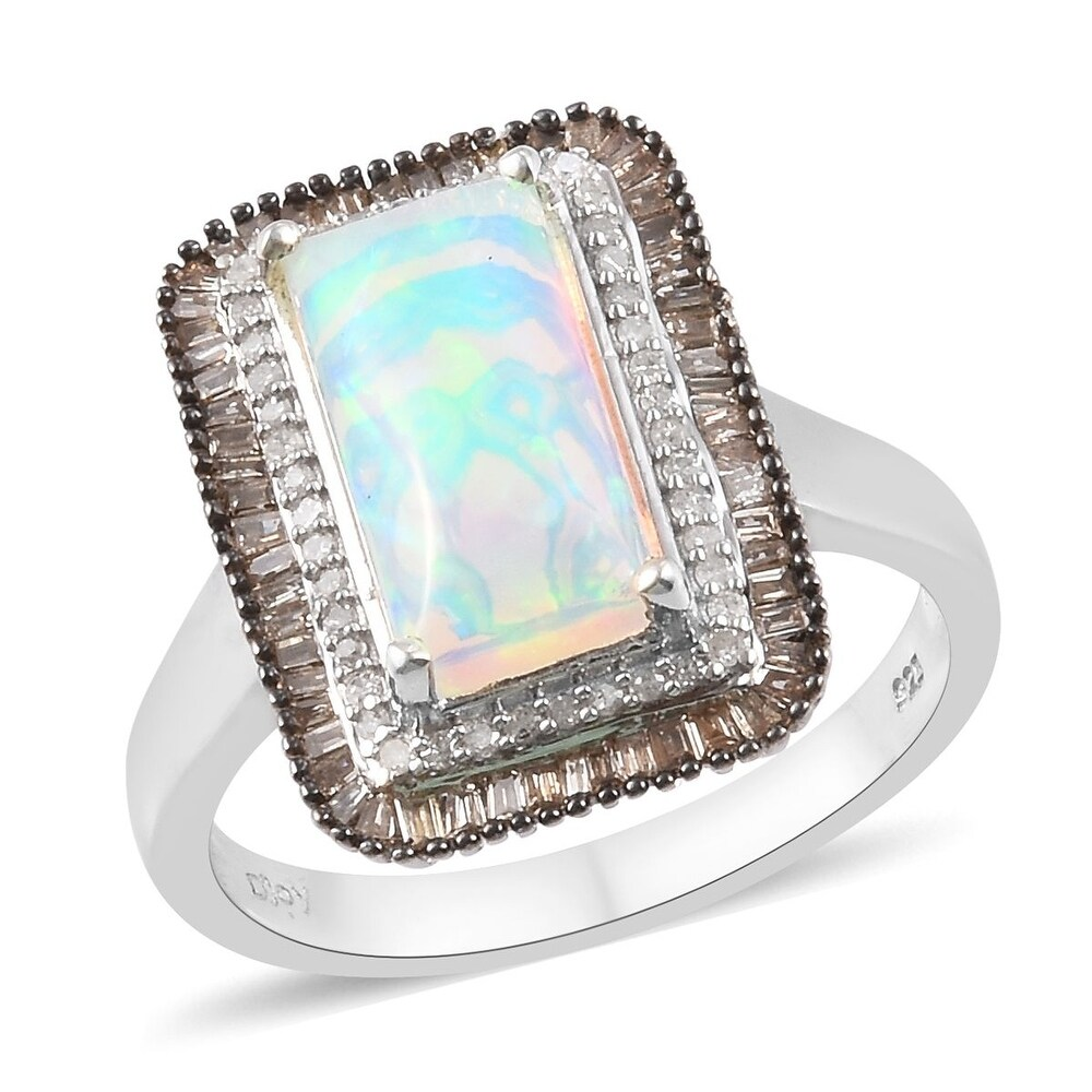 Platinum Sterling Silver Opal White Diamond Halo Ring Ct 3.25 (Ring 10)