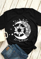 Live By The Sun Love By The Moon T-Shirt Tee - Black