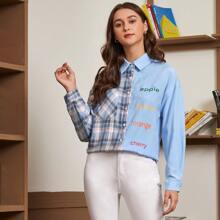 Bluse mit Buchstaben Grafik, Farbblock und Plaid Muster