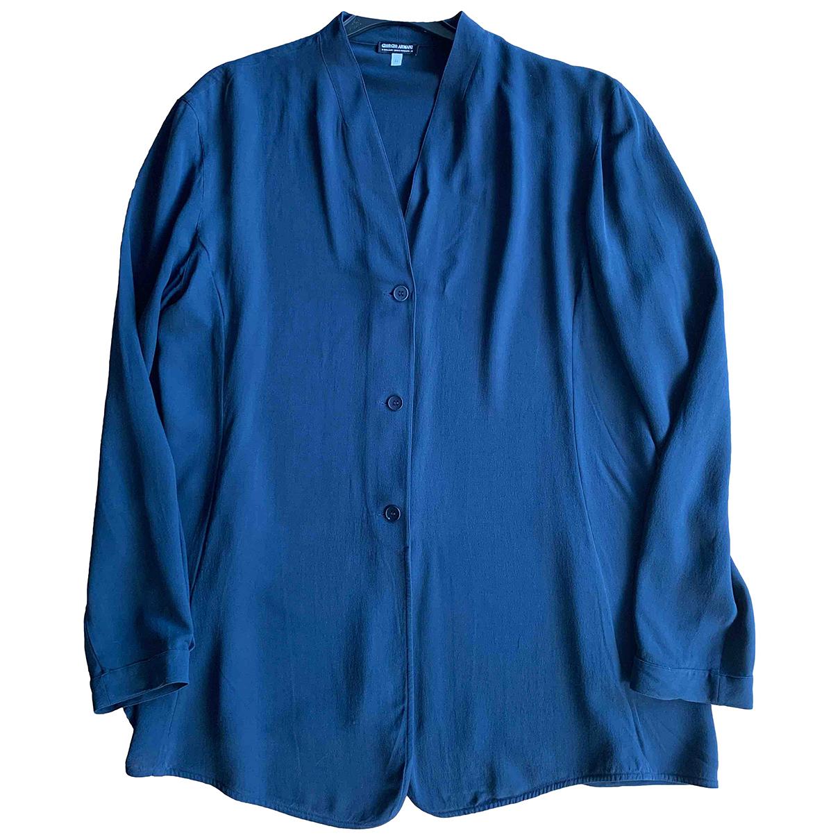 Giorgio Armani N Blue Silk  top for Women 44 IT