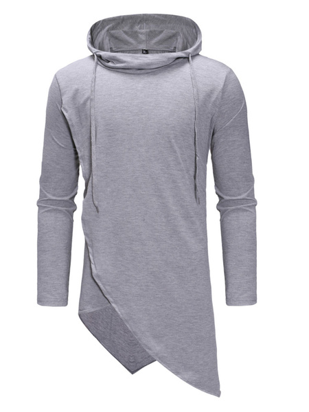 Milanoo Long Sleeve T Shirt Hooded Irregular Design Drawstring Longline Men Casual T Shirt