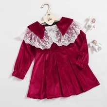 Toddler Girls Lace Panel Flounce Sleeve Velvet Smock Dress