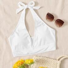 Plunging Halter Rib Bikini Top