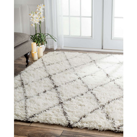 nuLoom Hand Made Marrakech Shag Rug, One Size , White
