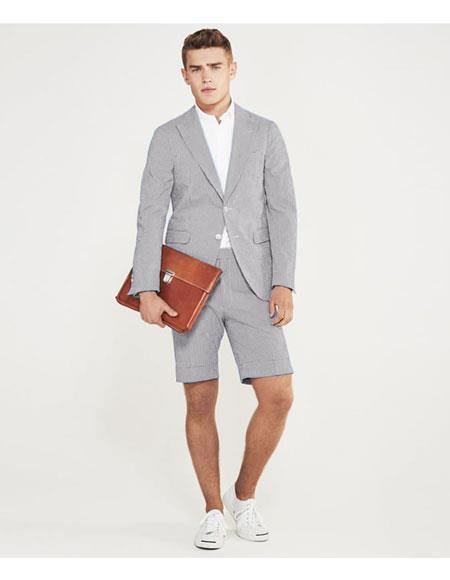 men's summer business suits with shorts pants set Light Grey
