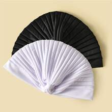 2pcs Simple Solid Turban Hat