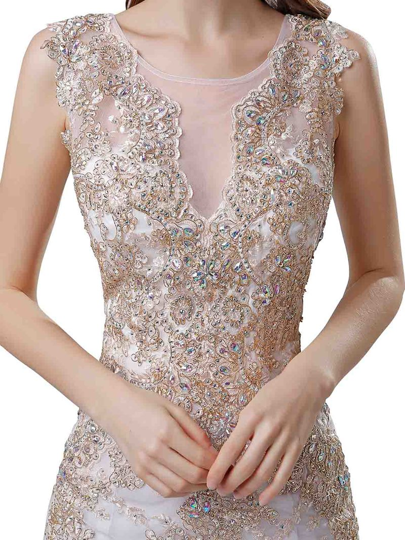 Ericdress Sleeveless Appliques Mermaid Evening Dress