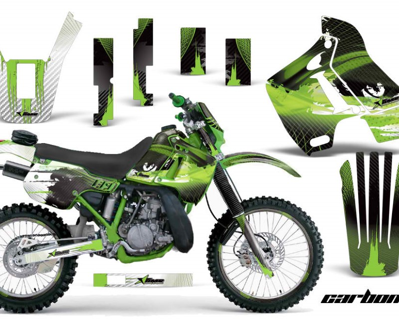 AMR Racing Graphics MX-NP-KAW-KDX200-89-94-CX G Kit Decal Sticker Wrap + # Plates For Kawasaki KDX200 1989-1994 CARBONX GREEN