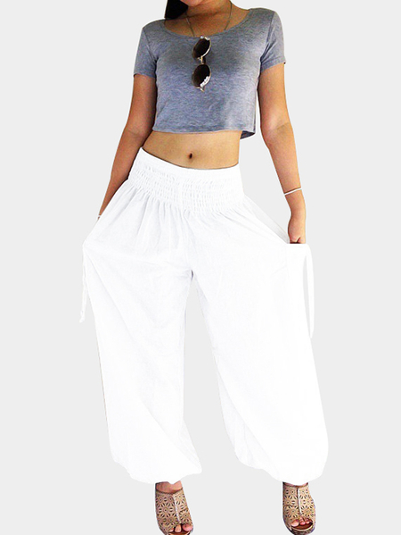Yoins White Elastic High-rise Wide Leg Pants with Side Pockets