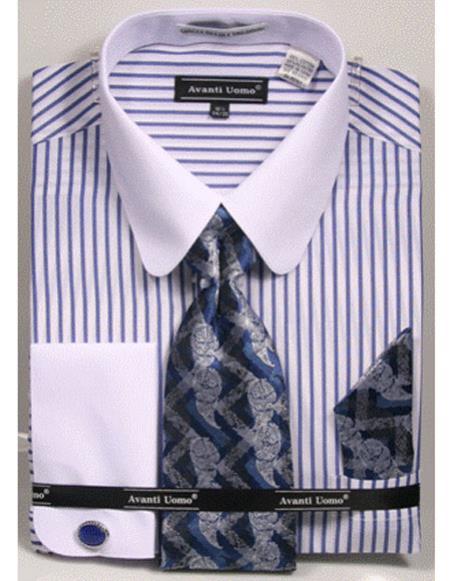 Mens white Tab Collared French Cuffed Blue ShirtTie/Hanky/Cufflink Set