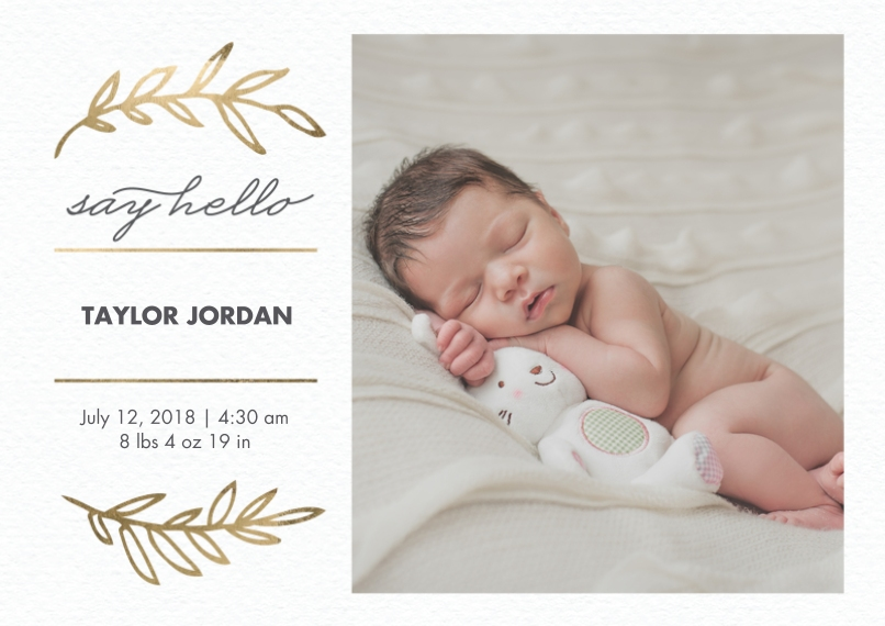 Baby Boy Announcements 5x7 Cards, Premium Cardstock 120lb with Rounded Corners, Card & Stationery -Baby Gold Leaves