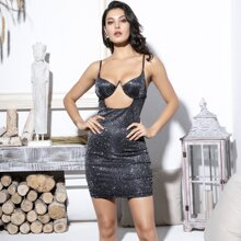 Cut-out Bustier Glitter Slip Dress