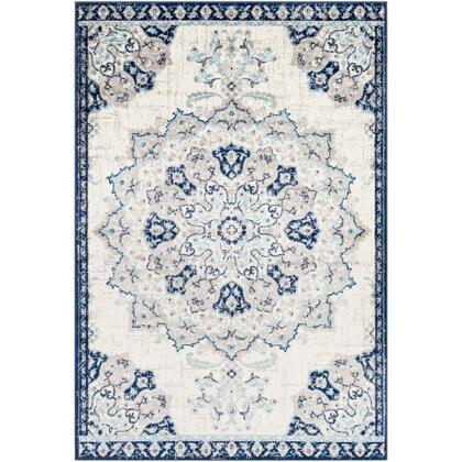 Paramount PAR-1111 67 x 96 Rectangle Traditional Rug in Aqua  Dark Blue  Cream  Light