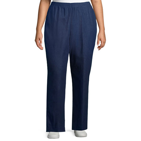 Alfred Dunner Womens Straight Pull-On Pants, 22W , Blue