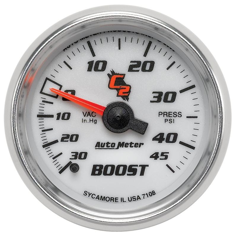 AutoMeter GAUGE; VAC/BOOST; 2 1/16in.; 30INHG-45PSI; MECHANICAL; C2