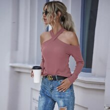 Waffle Knit Cold Shoulder Tee