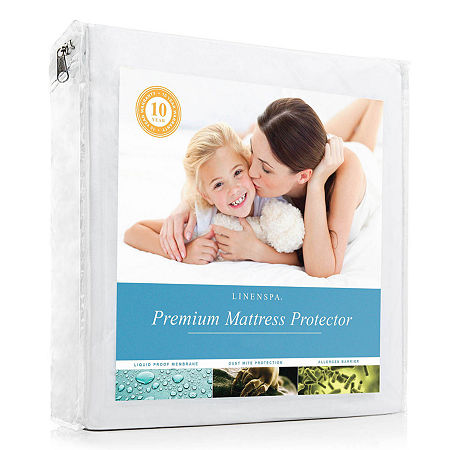 Linenspa Premium Smooth Mattress Protector, One Size , White