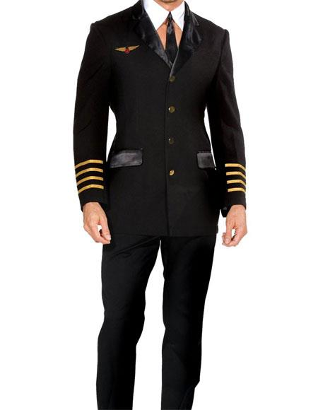 Men's 3 Button Single Breasted Peak Lapel Navy Gold Cuffs Suit