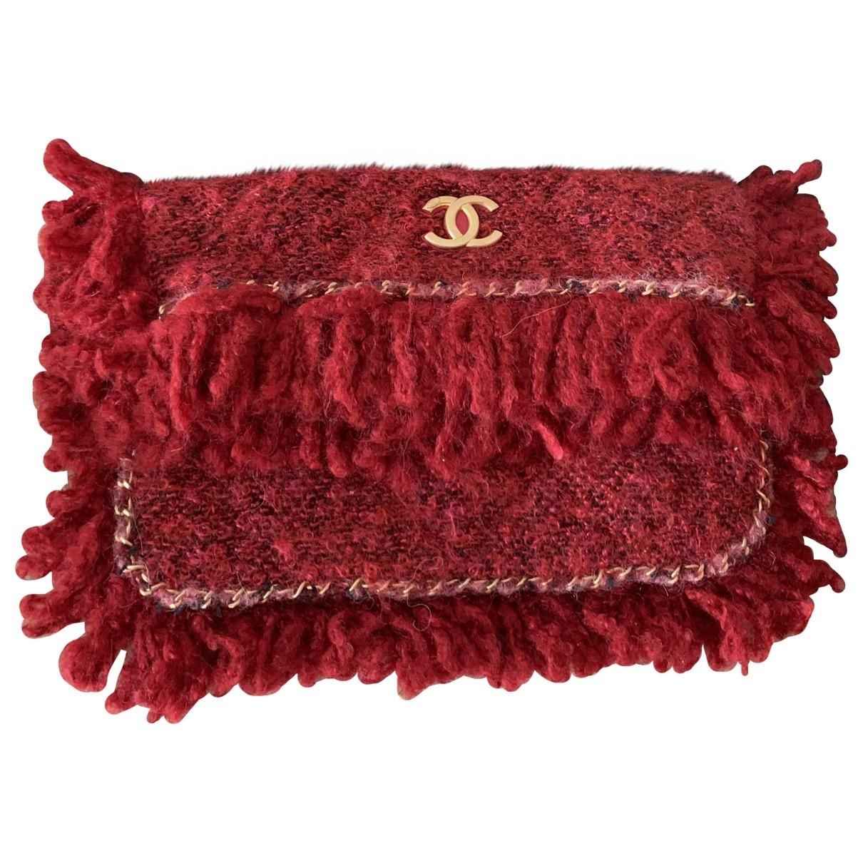 Chanel - Pochette   pour femme en tweed - rouge
