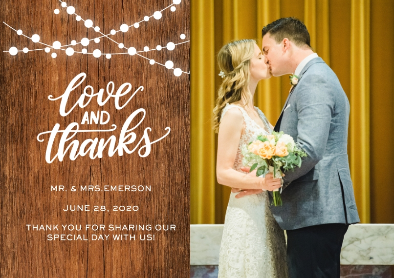 Matching Suites 5x7 Cards, Premium Cardstock 120lb with Scalloped Corners, Card & Stationery -Wedding Thank You Rustic Lights