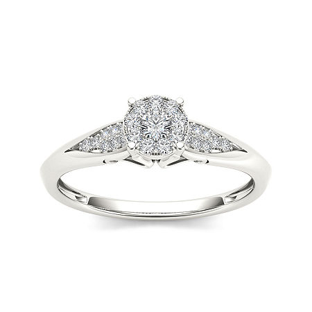 1/6 CT. T.W. Diamond 10K White Gold Engagement Ring, 6 1/2 , No Color Family