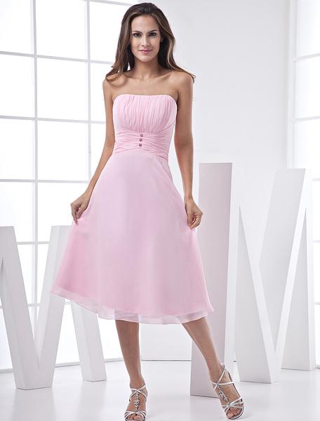 Milanoo Vestido de coctel escote palabra honor sin mangas cuentas Vestidos de boda para huespedes