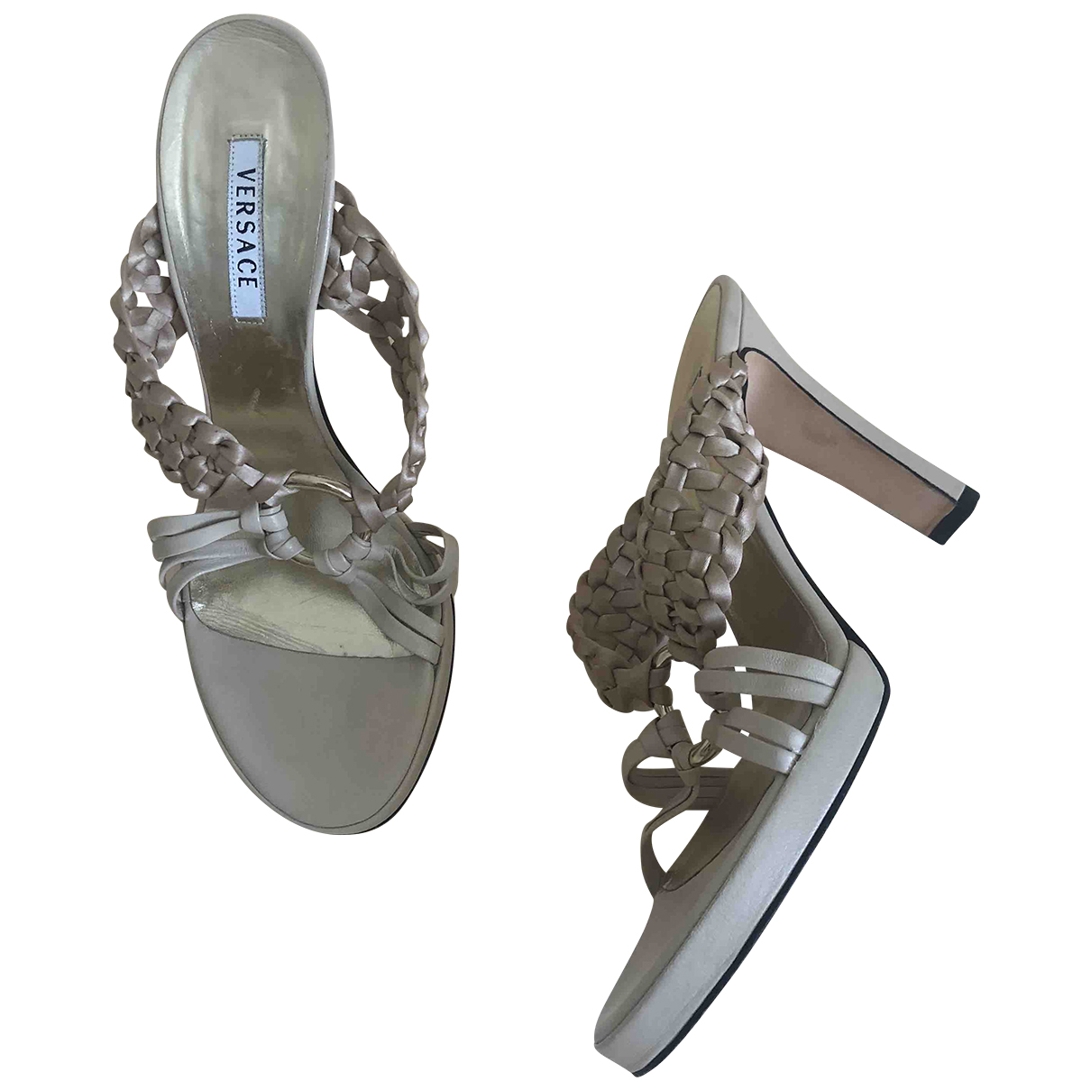 Versace \N Beige Leather Sandals for Women 38 EU