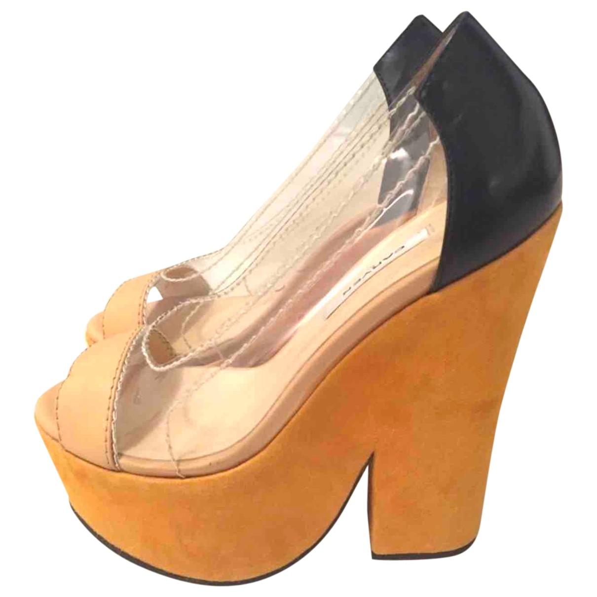 Carven - Sandales   pour femme en suede - orange