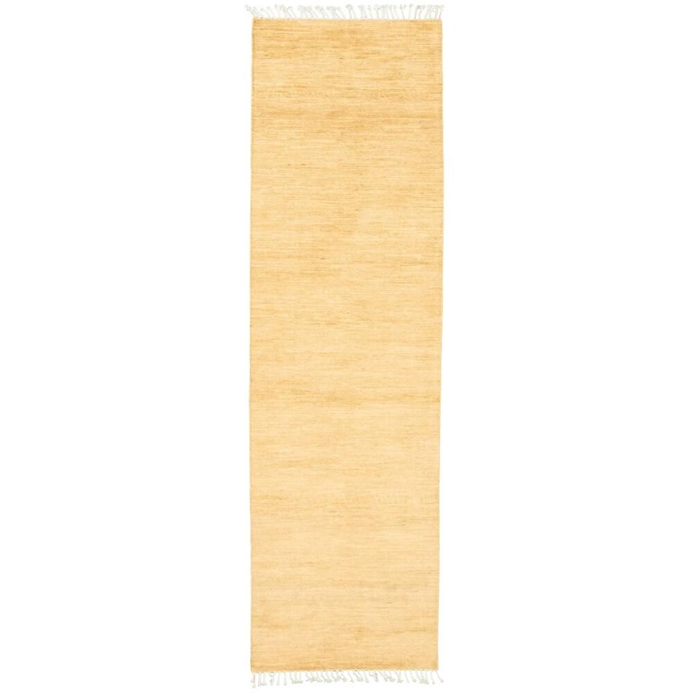 ECARPETGALLERY  Hand-knotted Pak Finest Gabbeh Ivory Wool Rug - 2'9 x 10'0 (Ivory - 2'9 x 10'0)