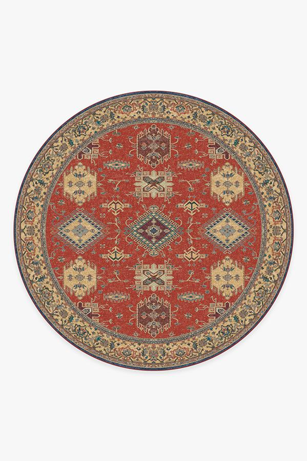 Washable Rug Cover | Ademi Paprika Red Rug | Stain-Resistant | Ruggable | 8 Round
