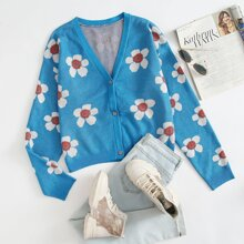 Button Front Floral Cardigan