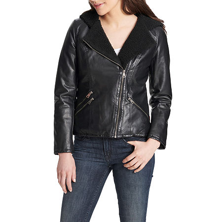 Levi's Faux Leather Hooded Midweight Motorcycle Jacket, Large , Black