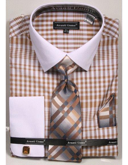 Mens white Collared French Cuffed Beige Shirt Tie/Hanky/Cufflink Set