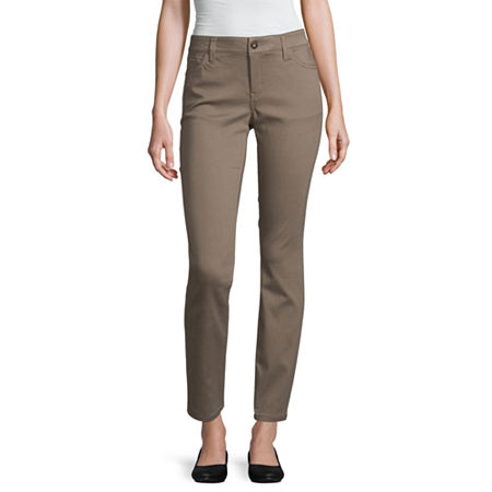 Liz Claiborne Womens Mid Rise Skinny Fit Jean, 8 , Brown