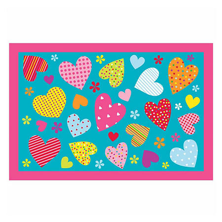 Hearts Rectangular Indoor Rugs, One Size , Red