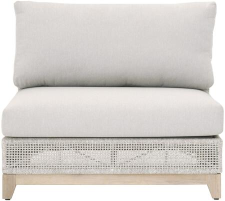 Tropez Series 6843-1S.WTA/PUM/GT Outdoor Modular 1-Seat Armless Sofa with Modular Sofa System in Taupe  White and Pumice